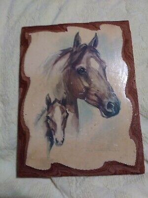 Paul Whitney hunter painting of two horses on wood plaque