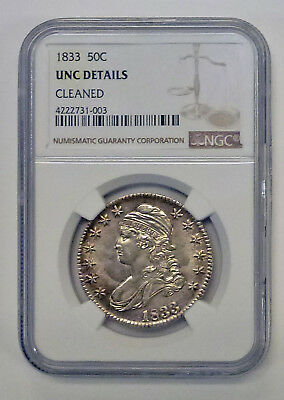 1833 Capped Bust Half Dollar 50c, NGC  UNC details  lovely Toning