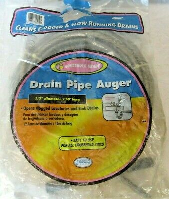 Cobra LX30500 Drain Pipe Auger, For Use With Household Drains, 1/2 In X 50 Ft