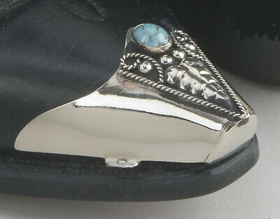 New! Western Cowboy Boot Tips Rand - Silver Black & Turquoise