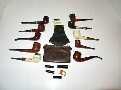 Lot of 10 Vintage Wooden Tobacco Pipes-2 Tobacco Pouches-7 Mouthpieces