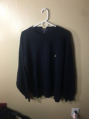 Nautica Men's Sweater Crew Neck Long Sleeve Size XL Navy Blue