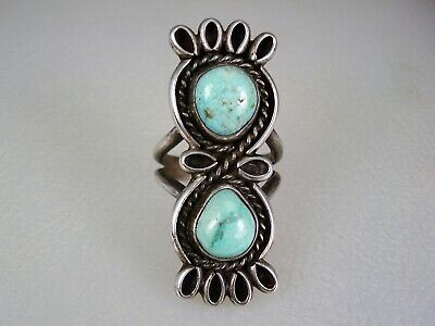 OLD PUEBLO INDIAN or NAVAJO STERLING SILVER  WIREWORK & 2 TURQUOISE RING sz 7.5