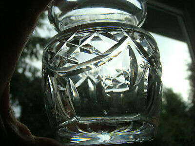 Waterford Ireland Cut Crystal - Mustard Pot or Jam Jelly Condiment Jar with Lid