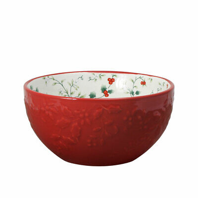 Pfaltzgraff Christmas Winterberry Red Embossed Soup Bowl