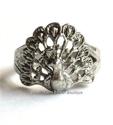 Silver Peacock Art Deco Cocktail Ring Size 7 Bird Plated Vintage Style USA