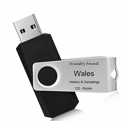 WALES - History & Genealogy - 120 Books on FLASH DRIVE USB - Family Records