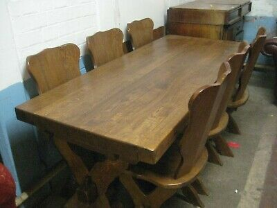 Solid Oak Dining Table and Six Chairs. Free local delivery