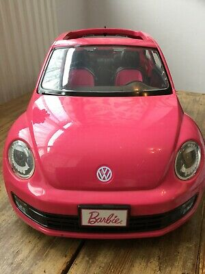 Barbie car pink VW beetle Mattel mirrors missing 2013 some wear opening doors