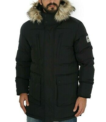 SUPERDRY BLACK EXPEDITION Detachable Hood Padded Mens Parka