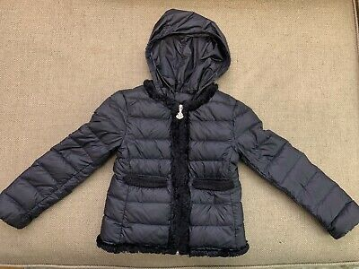 Authentic Moncler Girls Kids Down Coat Jacket, Size 3, Navy Blue