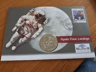 2001 GIBRALTAR Apollo Moon Landings 1 Crown (Rare) FDC/PNC