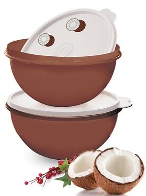 Tupperware New Set 2 Brown 8 3/4 Cup Wonderlier Bowls White Seals Coconut Design