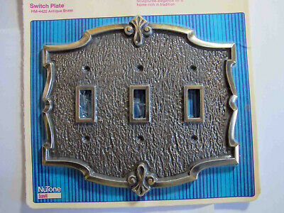 Vintage New Old Stock Ornate Triple Antique Brass Switch Plate