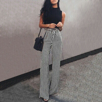 Girls Trousers Pants Casual Summer High Waist Wide Leg Ladies Long Stylish