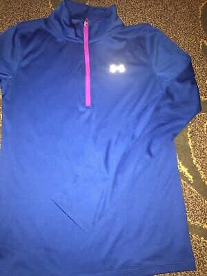 Girls under armor Loose Fit blue quarter zip shirt Sz YLG Youth Large