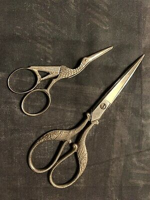Vintage Antique Embroidery Sewing Scissors Ornate Silver