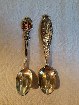 Lot of 2 Vintage Scandinavian Norway Silver Souvenir  Spoons