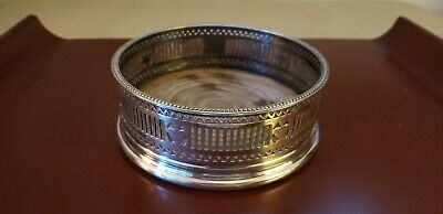 ANTIQUE 19th CENTURY ENGLISH SILVER-PLATE  WINE COASTER MAHOGANY BASE