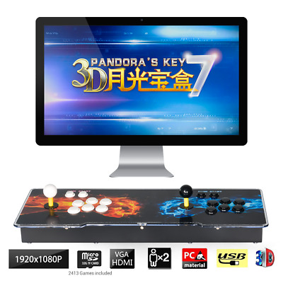 Pandora's Box Key 7 3D Retro 2-4 Player Arcade Game Console Cabinet 2413+ Games