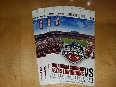 2019 OKLAHOMA SOONERS VS texas FOOTBALL TICKET STUBs