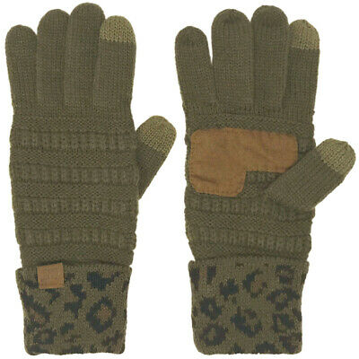 Winter CC Touch Screen Smart Cellphone Finger Tips Warm Gloves Leopard Olive