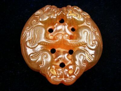 Old Nephrite Jade Hand Carved Pendant Sculpture Double FOO DOG LIONS #07181901