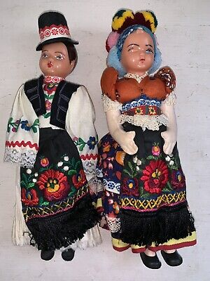Vintage Dolls In Traditional Costumes Plastic Celluloid Heads