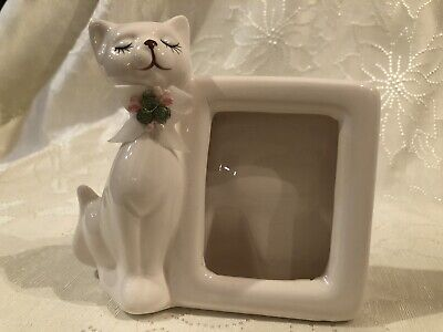 Vintage White Cat Picture Frame Ceramic