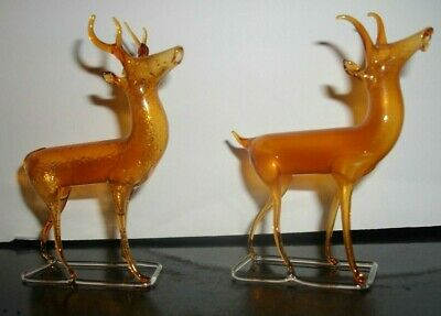 Two Vintage Hand Blown Glass Christmas Reindeer Figure Holiday Decorations