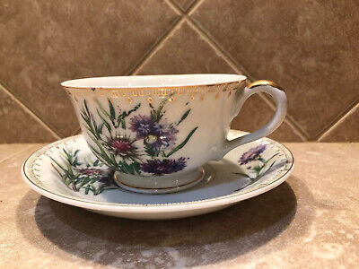 Tea Cup and Saucer Purple Dahlia pattern. Made In Japan