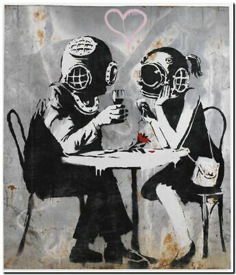 "BANKSY STREET ART CANVAS PRINT Think Tank  16""X 12"" stencil poster graffiti wall"