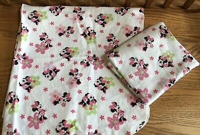 2 Disney Baby Minnie Mouse Flannel Babies Receiving Blankets FREE SHIPPING