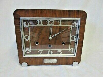 A Kenzle Walnut Art Deco Presentation Quarter Chime Mantel Clock