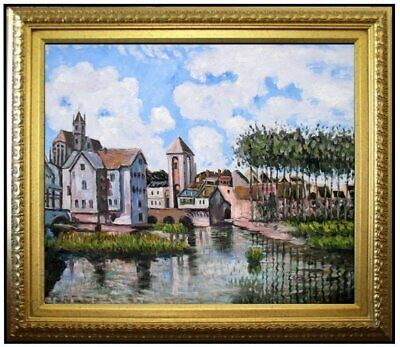 Framed Alfred Sisley Moret-sur-Loing Repro, Hand Painted Oil Painting 20x24in