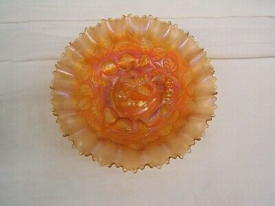 Northwood Marigold Carnival Glass Three Fruits Not Stippled Bowl VGC