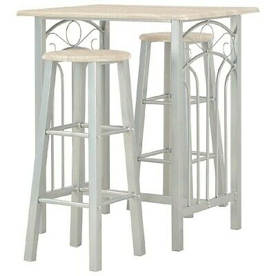 Breakfast Bar Table and Stools Grey Counter Chairs 3 Piece Space Saving 2 Seater