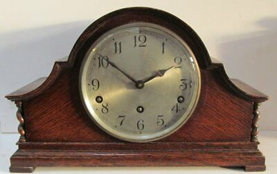 Vintage Garrard Art Deco Oak Westminster Chimes Mantel Clock & Garrard Key