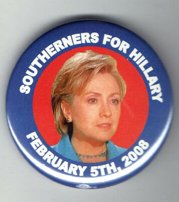 HILLARY Clinton 2008 pin SOUTHERNERS South CAMPAIGN pinback