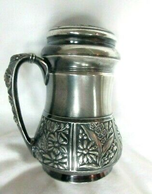 Antique Pairpoint Mfg. Co.Quadruple Plate Handled Mug/Creamer W/Lid - 4-3/4""
