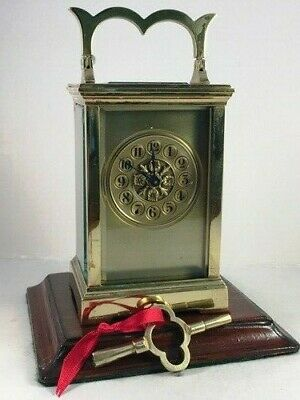 Antique Brass Carriage Clock With Masked Dial. Key.  Full Service Nov. 2019
