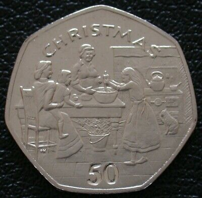 1998 ISLE OF MAN CHRISTMAS 50p Fifty Pence - Making The Christmas Pudding BU
