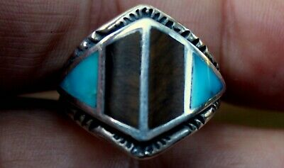 Beautiful Old Zuni Sterling Silver & Turquoise & Tiger's Eye Stone Ring SIGNED!