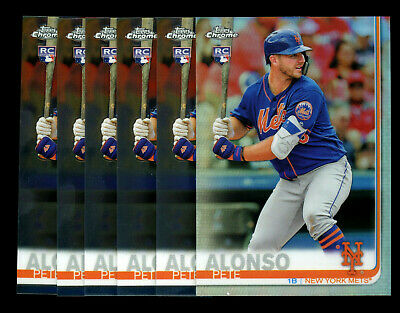 (6) 2019 Topps Chrome Base/Refractor #204 Pete Alonso RC Rookie Card LOT METS