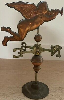 Vintage Copper Angel / Cherub blowing Trumpet Weathervane Rare COPPER & Brass