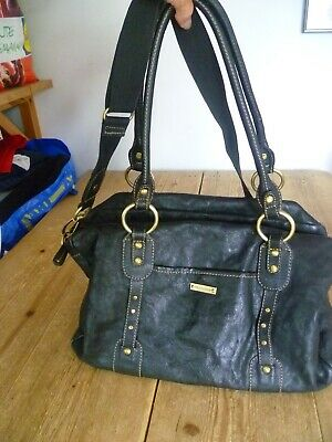 Fab but Flawed!  STORKSAK Black Leather Spacious Baby Changing BAG, Long Strap