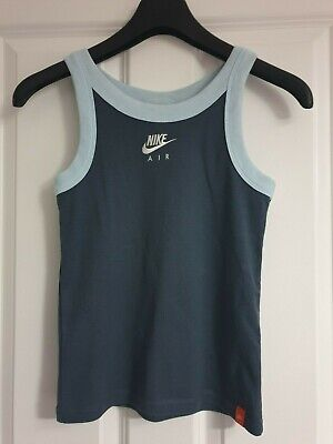 Nike Air Petrol Sky Baby Blue Cotton White Logo Strappy Tank Vest Top - M 10/12