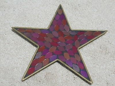 Stunning Pink Red Purple Gold Mosaic Glass Star Shaped Pillar Candle Stand Plate