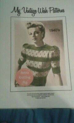 Reproduction 1940s Pattern Women Striped Jumper Knitted