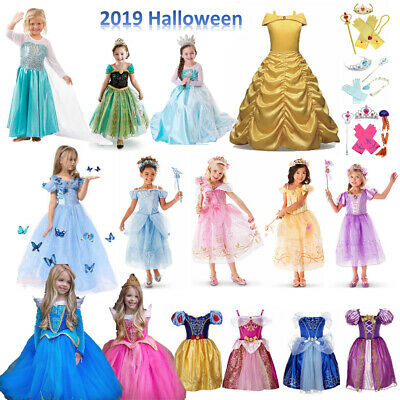 Kids Girls Princess Dresses cinderella Belle Dress Party Fancy Costumetu tutu